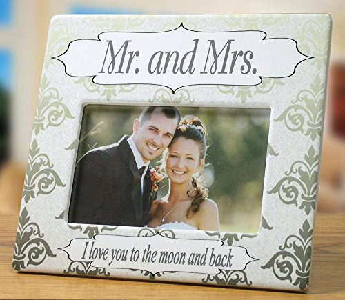 Wedding Frame - Mr. & Mrs. Picture Frame with I Love You to the Moon and Back - Husband - Wife - Wedding Gift - 4 x 6 Photo Frame (Ring Bearer Picture Frame compare prices)