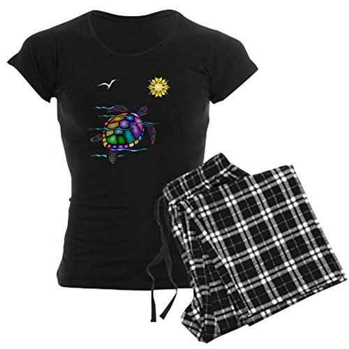 CafePress Sea Turtle 1 - with Waves Women's Dark Pajamas Womens Novelty Cotton Pajama Set, Comfortable PJ Sleepwear]()