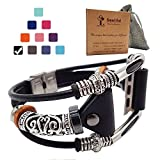 Smatiful Fancy Bands (Small Mediume Large XL are Ok) with Stainless Steel Clasp and Gunmetal Parts for Women, Adjustable Replacement Leather Band for Apple Watch (Series 1,2,3,4) 42mm,Classic Black