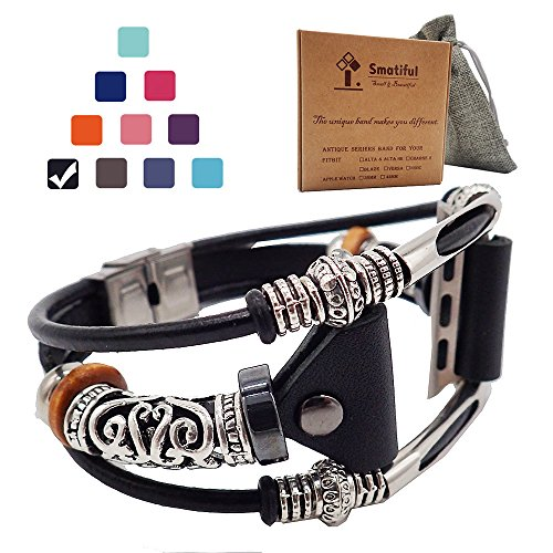 Smatiful Fancy Bands (Small Mediume Large XL are Ok) with Stainless Steel Clasp and Gunmetal Parts for Women, Adjustable Leather Band for Apple Watch (Series 1,2,3,4) 42mm 44mm,Classic Black