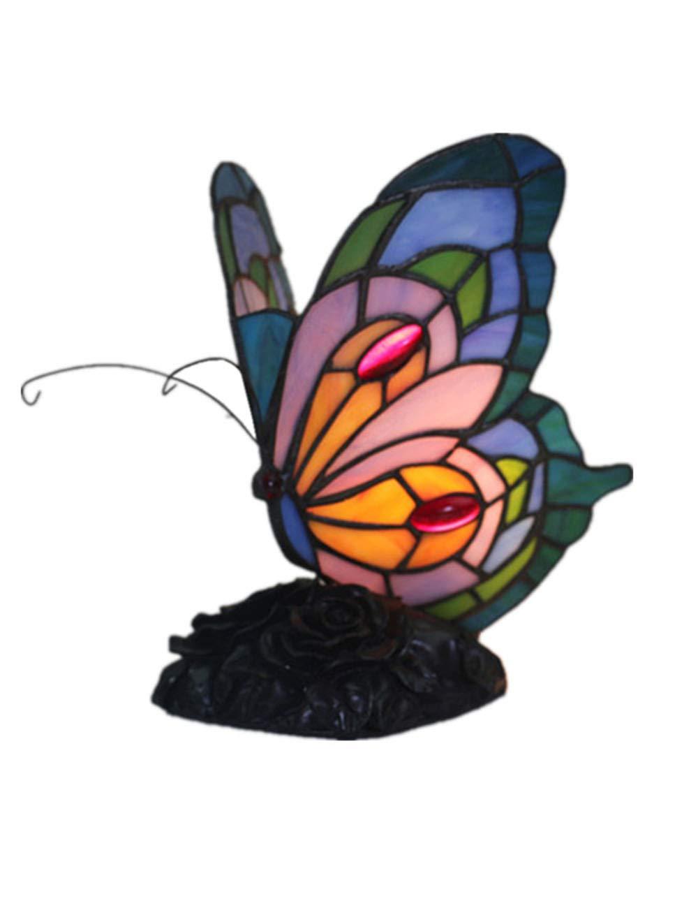 xiuxiu Europäische Kreative Retro Schmetterling Form Glasmalerei Tischlampe Schlafzimmer Nachttischlampe Restaurant Wohnzimmer Bar Dekoration Tischlampe