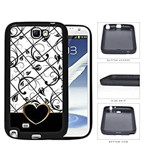 Black White Floral Pattern With Gold Outline Heart Shape Silicone Cell Phone Case Samsung Galaxy Note 2 II N7100