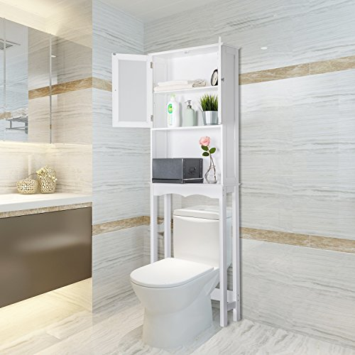 Peachtree Press Inc Home Bathroom Shelf Over The Toilet, Space Saver Cabinet,Bathroom Cabinet Organizer with Moru Tempered Glass Door, White by Peachtree Press Inc