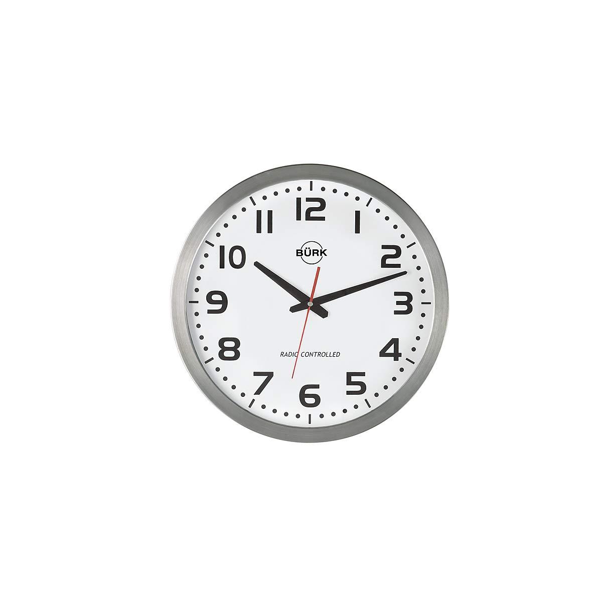 Certeo Quarz-Wanduhr, Durchm. 400 mm, Edelstahlgehäuse, Z iffernblatt weiá, arabische Zahlen, inkl. Batterie