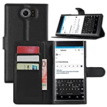 Fettion Blackberry Priv Case, Premium PU Leather Wallet Cases Flip Cover with Stand Card Holder for Blackberry Priv 2015 Smartphone (Wallet - Black)