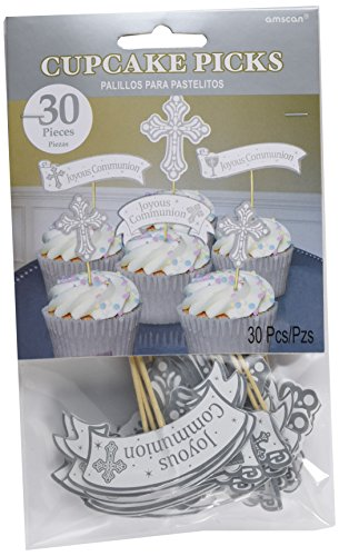 "Amscan Religious Party Cupcake Picks Tableware 5"", Pack of 30 Decoration-Others (450 Piece), White Wood, 5"""