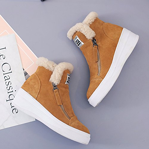 HGTYU-Cotton Shoes Women Sports Winter Warm Casual Flat Snow Boots Post High Students Help With Lint Free Short And Plush Boots Tide And Color t6tVaTEuF
