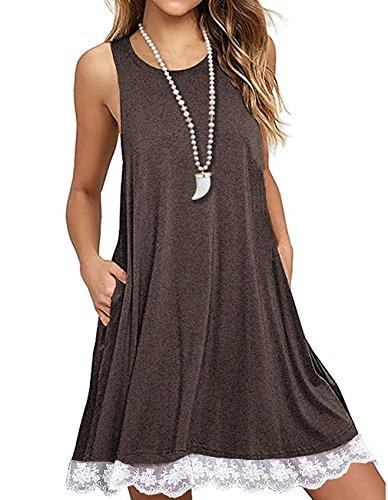 Kool Classic Women's Lace Trim Sleeveless Loose Fit Swing Tank Top Dresses With Pockets Coffee Small (Dress Sleeveless Trim)