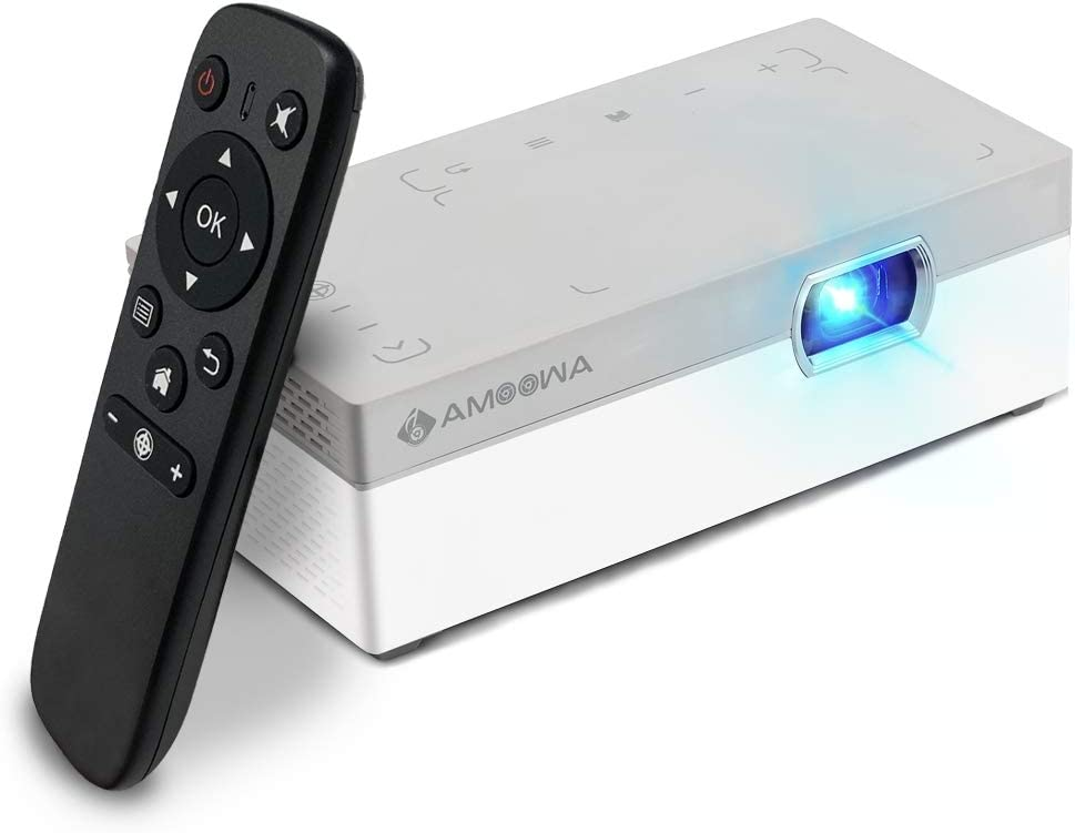 Amoowa Mini Projector - Portable WiFi Video Projector, 200 ANSI Lumen Pocket Cinema - Support iPhone, Android, Laptop for Home & Outdoor,W/ HDMI,USB & Touchpad Control