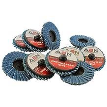 "ABN 2"" T27 60 Grit High Density Zirconia Alumina Flat Flap Disc Roloc Roll Lock Grinding Sanding Sandpaper Wheels 10 PK"