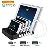 Charging Station, LIKEA 65W QC3.0 Docking Station 7-Port USB Charger Organizer with Type C for Multiple Devices,iPhone,Android phone,Tablets,ipad,Desktop,New Macbook,iWatch & More