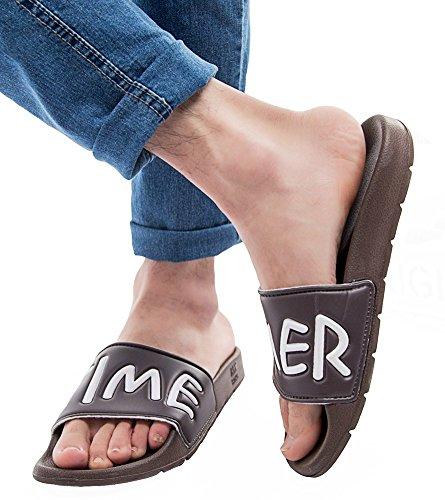 Idifu Mujeres Hombres Comfy Carta Imprimir Flat Slide Sandals Beach Indoor Summer Slippers Marrón