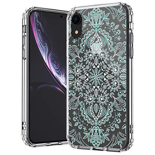 (MOSNOVO iPhone XR Case, Clear iPhone XR Case, Aqua White Mandala Pattern Clear Design Transparent Plastic Hard Back Case with Soft TPU Bumper Protective Case Cover for Apple iPhone XR)