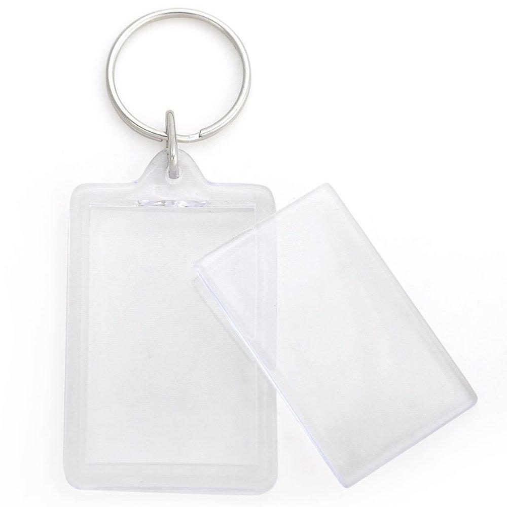 Llavero portafotos para fotos de tamaño carnet, ambos lados transparentes.