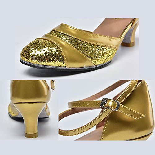 Party XUE 38 Women's Modern Color Shoes B Silver Sequin Size Indoor Ballroom Sparkling Shoes High Summer Evening Synthetic Buckle Beginner Heel Gold Practice amp; Glitter A rraxwS