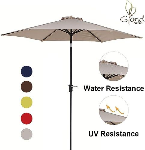 Grand Patio 9 FT Aluminum Patio Umbrella, UV Protected Outdoor Umbrella with Push Button Tilt and Crank, Beige