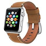 Apple Watch Band 42mm Leather, Swees iWatch Genuine Leather Bands Strap Replacement Wristband with Stainless Steel Clasp Buckle for Apple Watch Series 2 (2016) / Series 1 Women Men, Vintage Brown