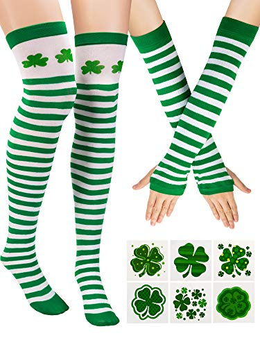 Zhanmai St. Patrick's Day Stripe Knee Thigh High Socks Arm Warmer Gloves with 12 Pieces Shamrock Patterned Tattoos