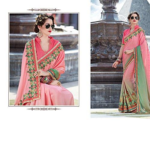 Partito Nozze Tradizionale Rosa Donne Indiani Di Facioun Da Le Sari Per Sari Progettista Usura qRn8F4