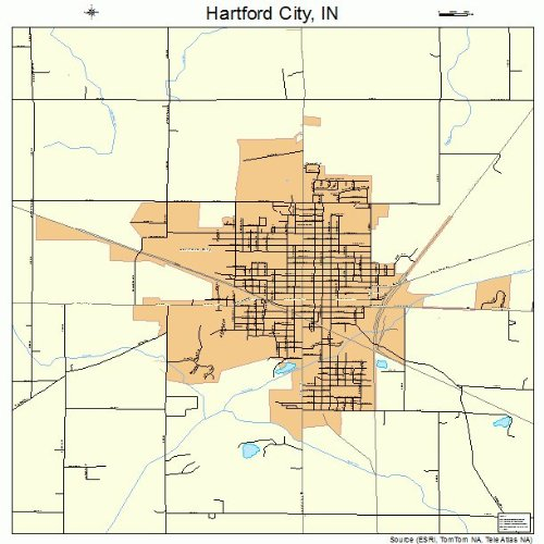 Amazon.com: Large Street & Road Map of Hartford City, Indiana IN ...