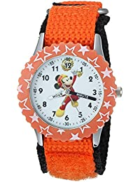 Boy's 'Mickey Mouse' Quartz Stainless Steel and Nylon Casual Watch, Color:Orange (Model: WDS000181)