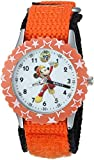 Disney Boy's 'Mickey Mouse' Quartz Stainless Steel and Nylon Casual Watch, Color:Orange (Model: WDS000181)