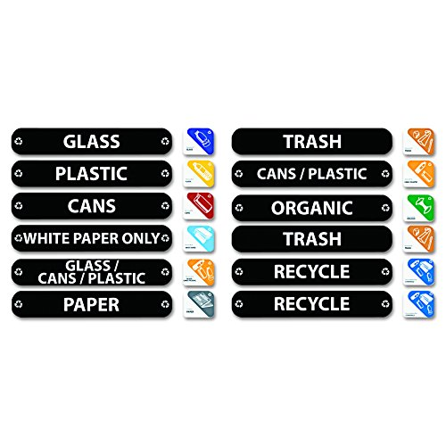 Rubbermaid Commercial 1792975 Recycle Label Kit, 44 Labels in Three Languages, 8 x 1-1/2