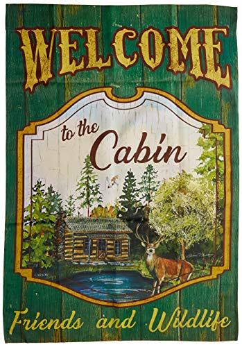 Carson Home Accents FlagTrends 48883 Welcome to The Cabin Classic Outdoor Large Garden Flag, American Goldfinch