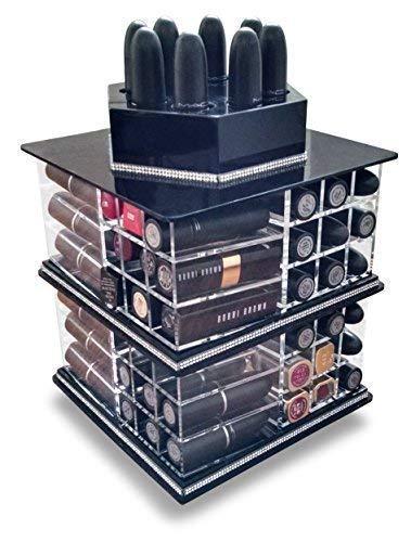 Oi Labels Transparent Acryl Rotierende / Drehen Lippenstift Halter Ordentlich Organizer - Dose Halt bis zu 80 Lippenstifte (Schwarz)