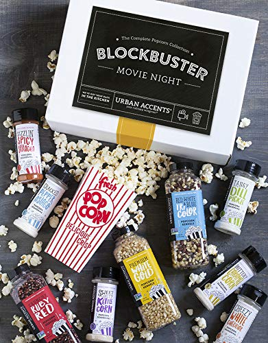 Urban Accents BLOCKBUSTER, Movie Night Popcorn Kernels and Popcorn Seasoning Variety Pack (Set of 10) - 3 Kernels, 6 Popcorn Seasonings and 2 sets of 8 Retro Boxes. Perfect for Any Occasion.