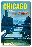 Pacifica Island Art 8in x 12in Vintage Tin Sign - Chicago, USA - Fly (TWA Trans World Airlines) - Bridges Over The Chicago River by Austin Briggs