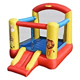 Costzon Inflatable Bounce House, Castle Jumper Slide Mesh Walls, Kids Party Jump Bouncer