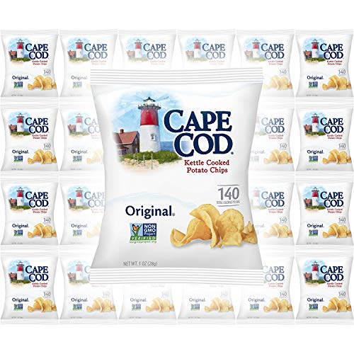 Cape Cod Original Kettle Cooked Potato Chips, Gluten-Free 1oz Bag (Pack of 24, Total of 24 Oz)