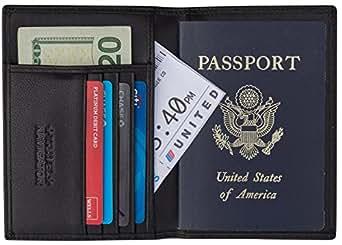 RFID Blocking Leather Bifold Passport Holder Wallet For Men and Women - Black