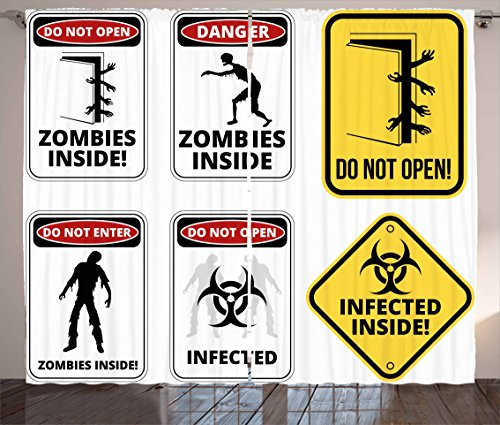 Zombie Decor Curtains by Ambesonne, Warning Signs for Evil Creatures Paranormal Construction Do Not Open Artwork, Living Room Bedroom Window Drapes 2 Panel Set, 108 W X 84 L Inches, Multicolor by Ambesonne