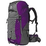 Coreal 50L Hiking Backpack Camping Rucksack Trekking Daypack Climbing Bag Purple