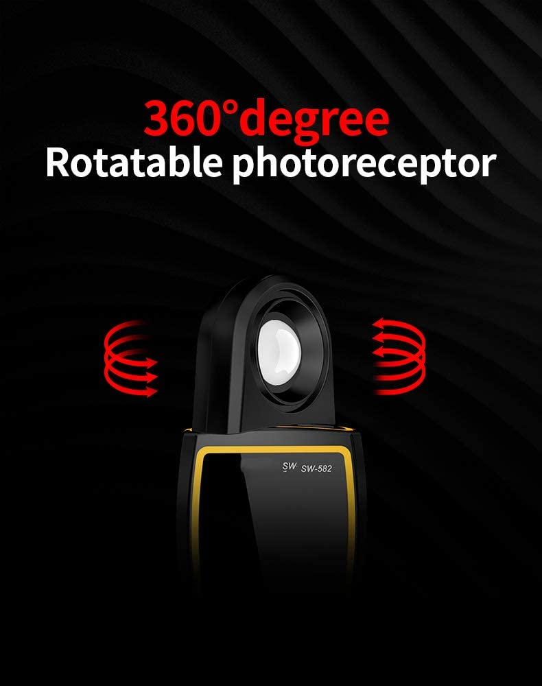 QWERTOUR Luxmeter Digital Light Meter 0-200000 lux Meter 360-degree Photometer for Photography Hand-held luminometer Lumen Meter