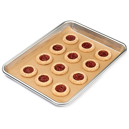 Zenlogy Unbleached Parchment Paper Baking Sheets (100 pcs) 9x13 inches - Exact Fit for Quarter Sheet Pans - Comes in a Perforated Box for Easy Storage by Zenlogy (Image #1)