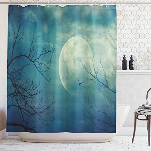 Ambesonne Horror House Decor Shower Curtain, Halloween with Full Moon in Sky and Dead Tree Branches Evil Haunted Forest, Fabric Bathroom Decor Set with Hooks, 70 Inches, Blue Teal]()