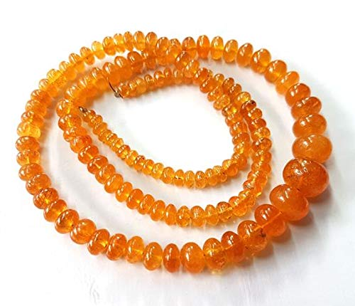 50% Off Kalisa Gems Natural Spessartite Garnet Smooth Beads,Mandarin Garnet,Orange Garnet, AAA Quality Beads,4 to 10 mm,9 inch -