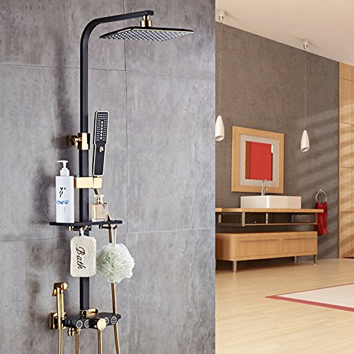 Multifunctional shower system, Bathroom Shower Mixer Set with Rainfall Showerhead, Handheld Shower Spray Gun and Tub Spout Faucet,High temperature paint (Gold Showerhead System)