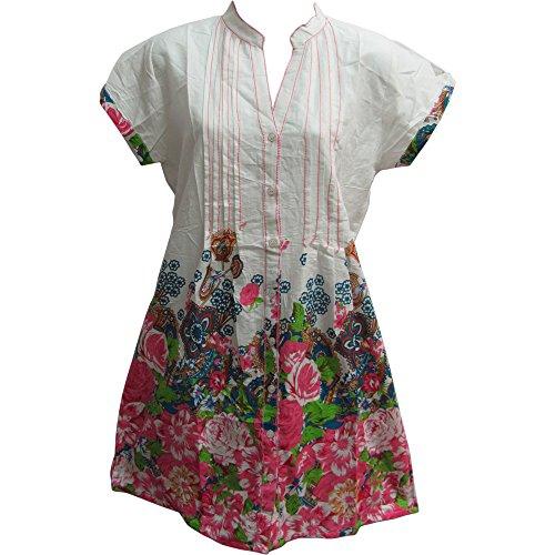 Yoga Trendz Indian Cotton Short Sleeve Mandarin Collar Button Down Paisley Shift Style Dress (Large, Pink Tones) (Mandarin Dress Collar Pink)