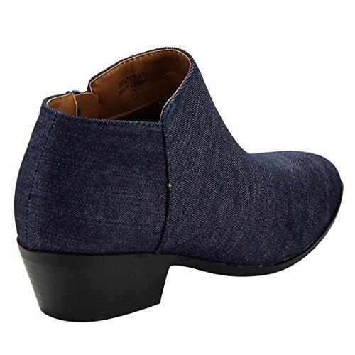 Bella Marie AE47 Damen Seitliche Reißverschluss Stacked Block Heel Ankle Booties Navy Denim