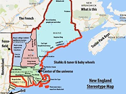 Amazon.com: NEW ENGLAND FUNNY STEREOTYPES MAP GLOSSY POSTER PICTURE ...