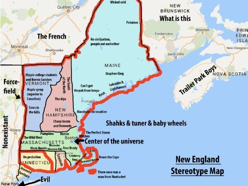image relating to Printable Map of New England identified as : Refreshing ENGLAND Amusing STEREOTYPES MAP Shiny POSTER