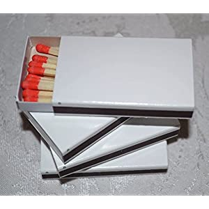 50 White Plain Matchboxes with Red Tips