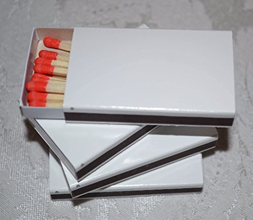 50 White Plain Matchboxes with Red - White In Shopping Plains