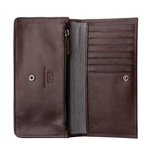 Antica Toscana Womens Real Italian Leather Long Flap-over Purse Wallet with two gussets Zip Credit Card & Coin Holders - Antica by Antica Toscana