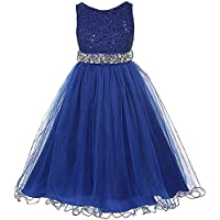 35c15dee6 Glitters Sequined Bodice Double Layer Tulle Rhinestones Sash Flower Girl  Dress