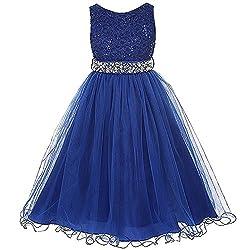 Rhinestones Sequined Girl Dress